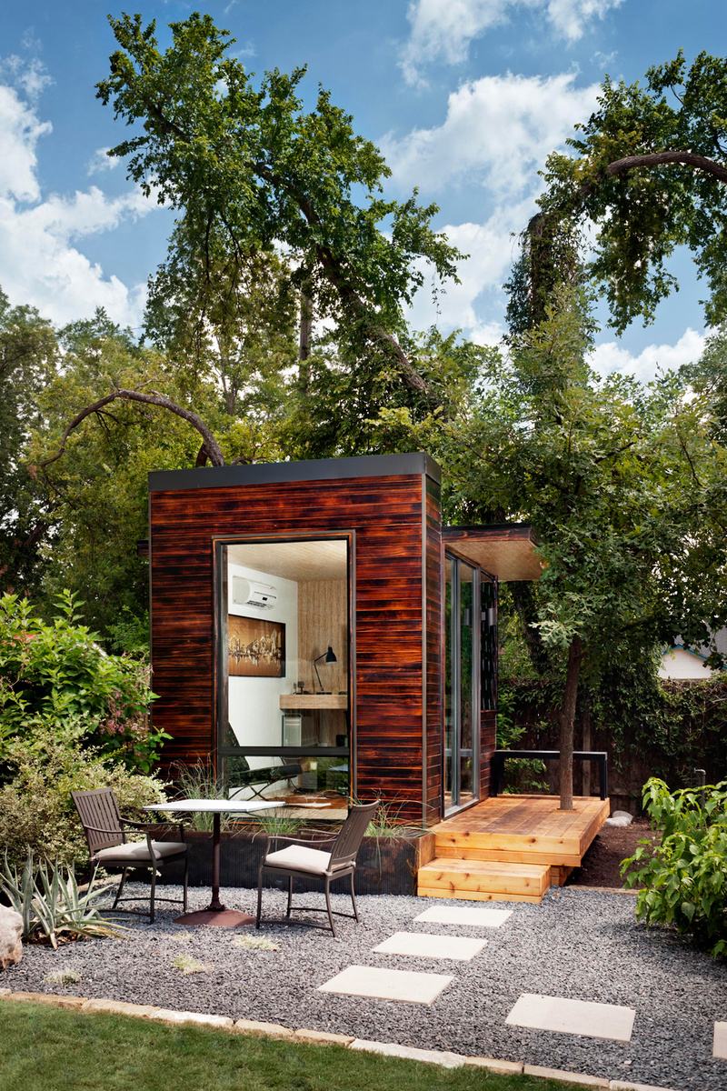 Modern sustainable pre fab office or yoga retreat for Outdoor office ideas